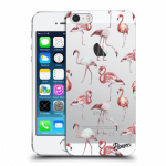 Picasee Apple iPhone 5/5S/SE Hülle - Transparentes Silikon - Flamingos
