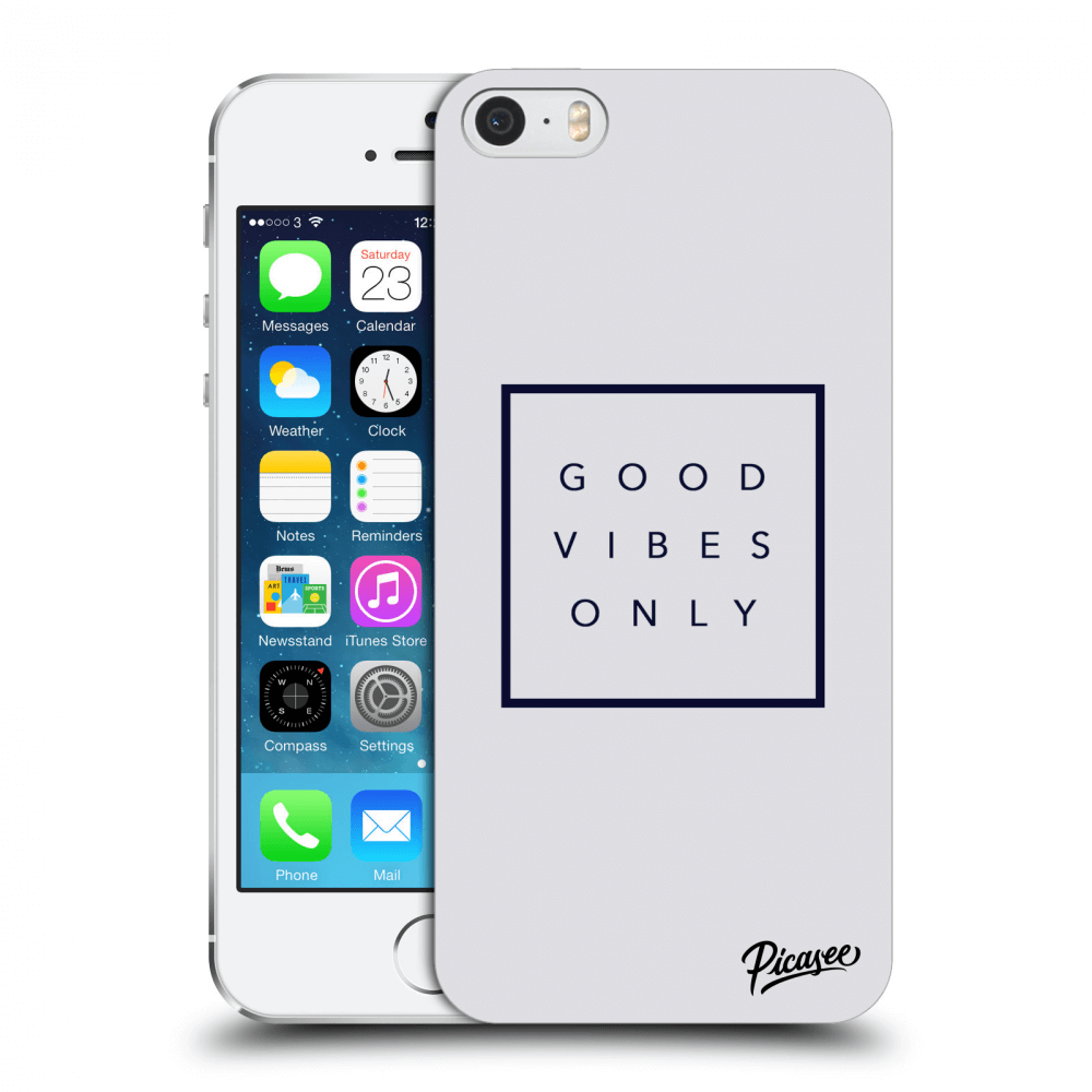 Picasee Apple iPhone 5/5S/SE Hülle - Transparentes Silikon - Good vibes only