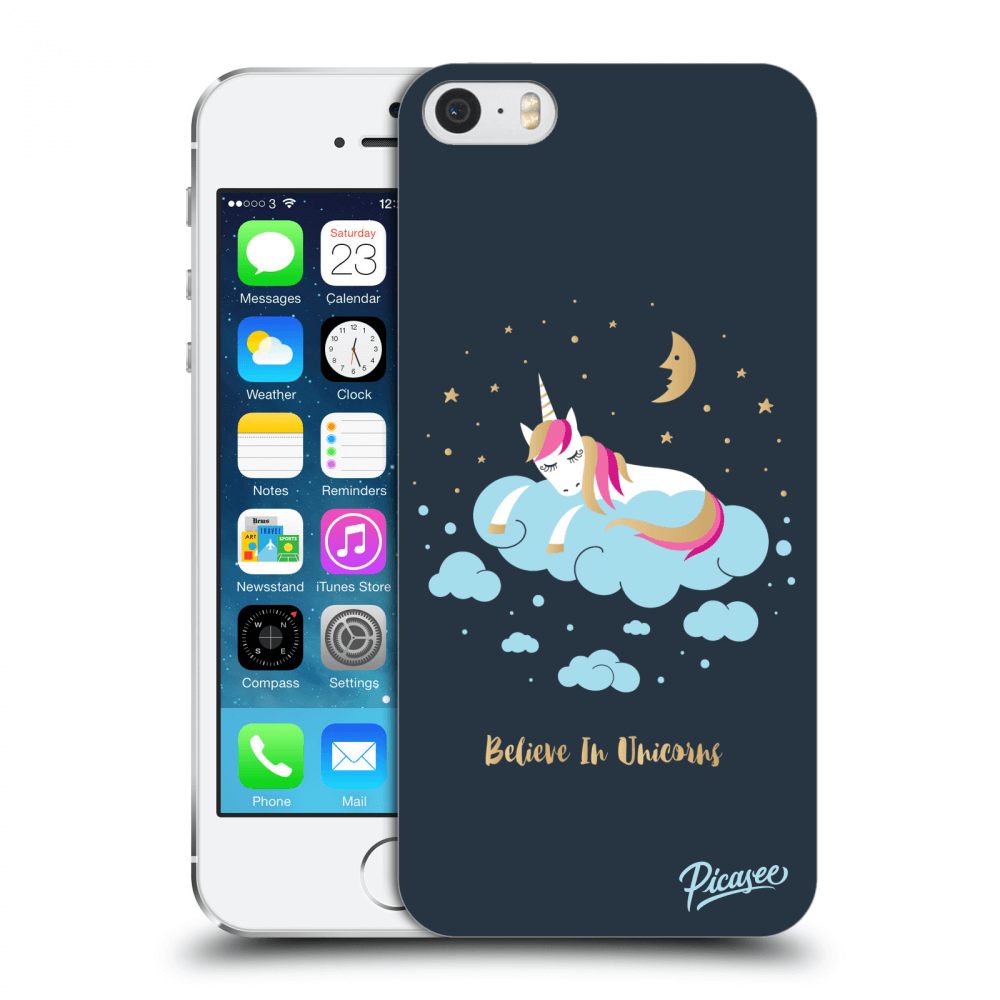 Picasee Apple iPhone 5/5S/SE Hülle - Transparenter Kunststoff - Believe In Unicorns