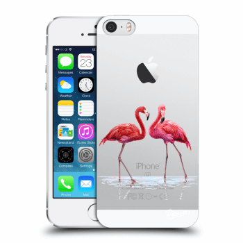 Picasee Apple iPhone 5/5S/SE Hülle - Transparenter Kunststoff - Flamingos couple