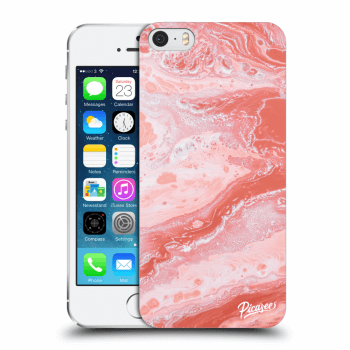 Picasee Apple iPhone 5/5S/SE Hülle - Transparentes Silikon - Red liquid