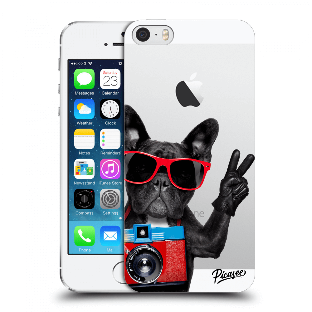 Picasee Apple iPhone 5/5S/SE Hülle - Transparenter Kunststoff - French Bulldog