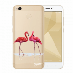 Picasee Xiaomi Redmi 4X Global Hülle - Transparenter Kunststoff - Flamingos couple