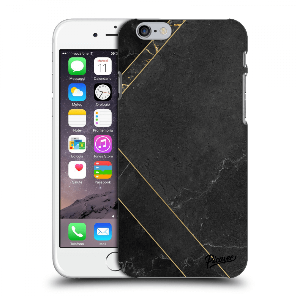 Picasee Apple iPhone 6/6S Hülle - Transparentes Silikon - Black tile